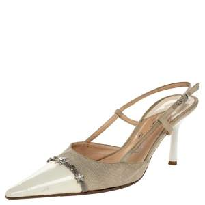 Chanel Cream Patent Leather And Canvas CC Embellished Slingback Sandals Size 38