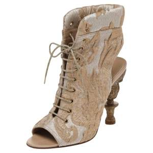 Chanel Beige/Gold Brocade Fabric Lace Up Open Toe Carved Heel Booties Size 36