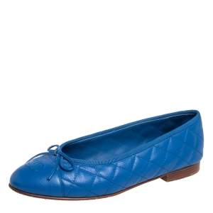 Chanel Blue Quilted Caviar Leather CC Cap Toe Bow Ballet Flats Size 39