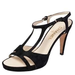 Chanel Black Cut Out Suede CC Ankle Strap Sandals Size 39.5