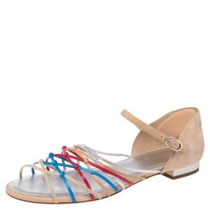 Chanel Beige Suede and Leather Strappy Knot Ankle Strap Flat Sandals Size 38.5