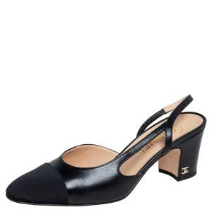 Chanel Black Leather and Fabric Cap Toe CC Slingback Sandals Size 38