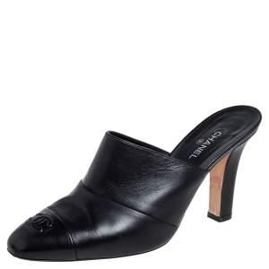 Chanel Black Leather CC Cap Toe Mule Sandals Size 40.5