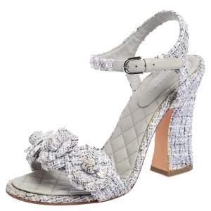 Chanel Purple/Grey Tweed CC Camelia Open Toe Ankle Strap Sandals Size 39