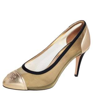 Chanel Gold/Black Leather And Mesh CC Cap Toe Pumps Size 39