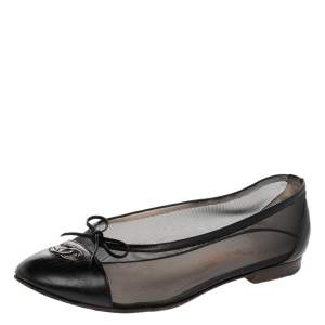 Chanel Black Mesh And Leather CC Bow Ballet Flats Size 37.5