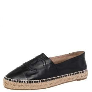 Chanel Black Leather CC Espadrille Flats Size 39