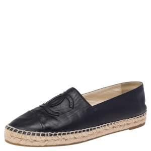 Chanel Black Leather CC Espadrille Flats Size 40