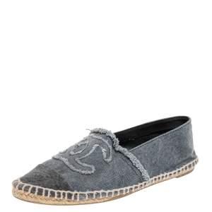 Chanel Grey Denim CC Espadrille Flats Size 36