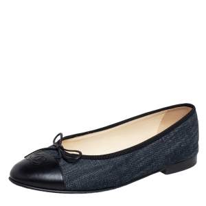 Chanel Blue/Black Leather and Denim CC Cap Toe Bow Ballet Flats Size 39
