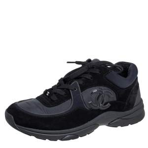 Chanel Black Nylon and Suede CC Trainer Sneakers Size 41