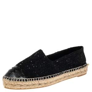 Chanel Black Sequins Tweed and Leather CC Cap Toe Espadrille Flats Size 39