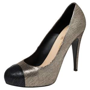 Chanel Light Gold/Black Textured Suede CC Round Toe Pumps Size 40.5