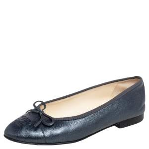 Chanel Metallic Blue Leather CC Bow Cap Toe Ballet Flats Size 37.5