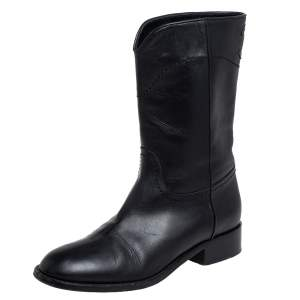 Chanel Black Leather CC Mid Length Boots Size 37.5