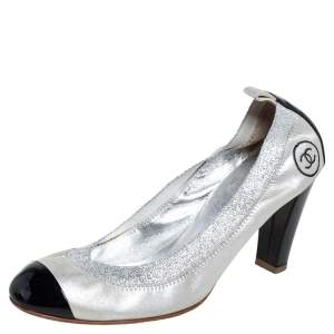 Chanel Silver/Black Shimmer Leather and Elastic Lurex CC Scrunch Ballet Pumps Size 39