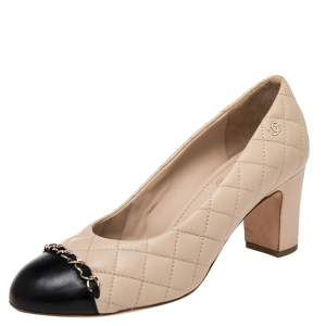 Chanel Beige/Black Quilted Leather CC Chain Cap Toe Pumps Size 37.5
