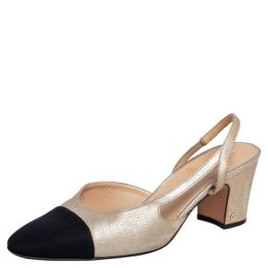 Chanel Gold/Black Leather and Canvas CC Cap Toe Slingback Pumps Size 39