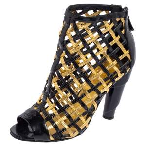 Chanel Black/Gold Woven Caged Patent Leather and Leather Open Toe Swirl Heel Booties Size 37.5