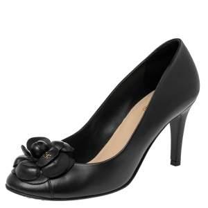 Chanel Black Leather CC Camellia Pumps Size 39