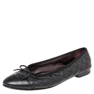 Chanel Black Quilted Leather CC Cap Toe Bow Flats Size 41