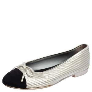 Chanel Black/Silver Woven Fabric And Leather CC Cap Toe Bow Ballet Flats Size 36.5