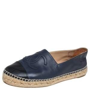 Chanel Black/ Blue Leather CC Cap Toe Espadrille Flats Size 37