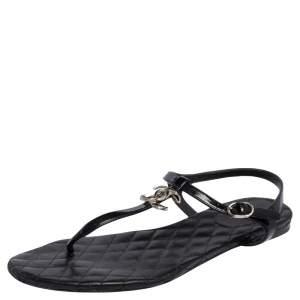 Chanel Black Patent Leather CC Logo T Strap Thong Flats Size 42