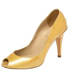Chanel Gold Patent Leather CC Peep Toe Pumps Size 36.5