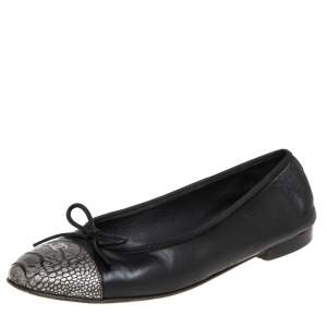 Chanel Black Leather and Python Embossed Leather CC Cap Toe Flats Size 40