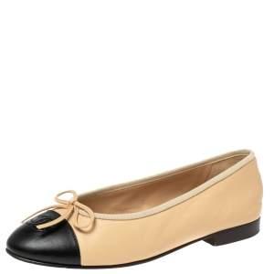 Chanel Black/Beige Leather CC Cap Toe Flats Size 36