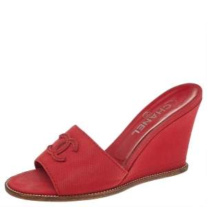 Chanel Red Canvas CC Wedge Slide Sandals Size 38.5
