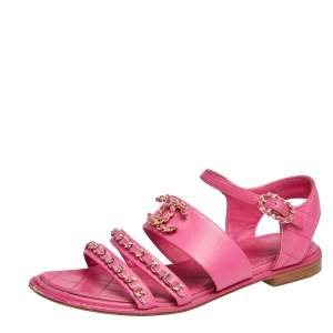 Chanel Pink Leather CC Chain Embellished Flats Size 38