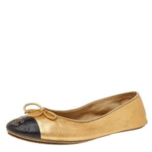 Chanel Metallic Gold/Black Leather CC Cap Toe Bow Ballet Flats Size 36