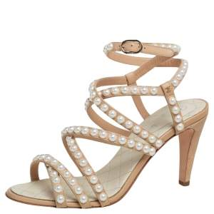 Chanel Beige Quilted Leather Pearl Embellished Ankle Strap Sandals Size 37.5