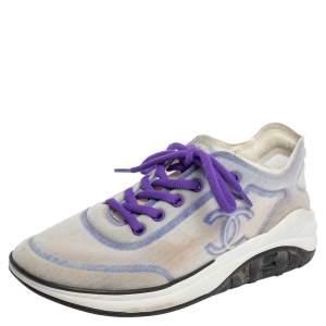 Chanel Purple/White Mesh Low Top Sneaker Size 38