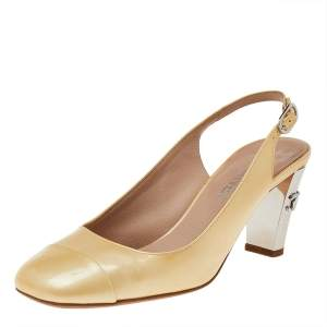 Chanel Beige Patent Leather CC Slingback Sandals Size 37