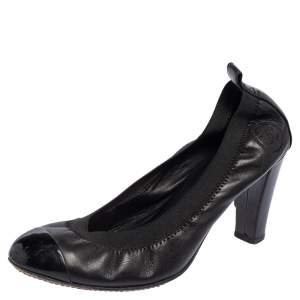 Chanel Black Leather and Patent Leather CC Scrunch Cap Toe Pumps Size 37.5