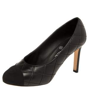 Chanel Black Quilted Lambskin Leather And Canvas Cap Toe Pumps Size 37.5
