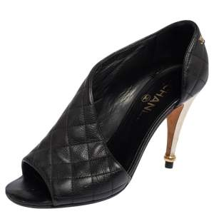 Chanel Black Quilted Leather CC Open Toe Pumps Size 38
