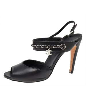 Chanel Black Leather Chain Link Ankle Strap Peep Toe Sandals Size 38.5