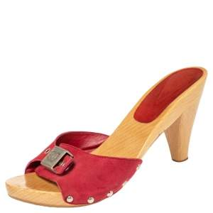 Chanel Red Suede CC Adjustable Buckle Wooden Clog Sandals Size 37