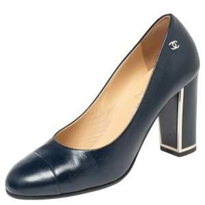 Chanel Black Leather Cap Toe Block Heel Pumps Size 37.5