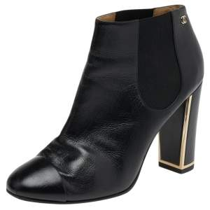 Chanel Black Leather CC Ankle Length Boots Size 39.5