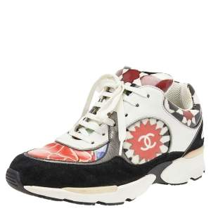 Chanel Multicolor Patent And Leather CC Low Top Sneakers Size 36.5