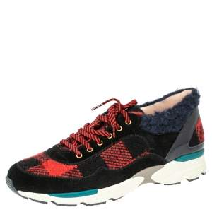 Chanel Multicolor Gingham Print Wool CC Lace Sneakers Size 39.5