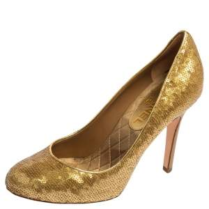 Chanel Gold Sequins Round Toe Pumps 37.5