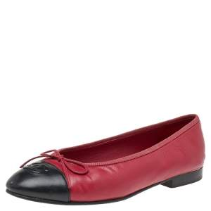 Chanel Red/Black Leather CC Cap Toe Bow Ballet Flats Size 36