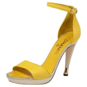 Chanel Yellow Canvas And Leather  Ankle Strap  Sandals Size 37.5