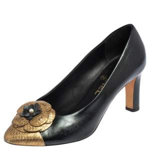 Chanel Black/Gold Leather And Python Embossed Leather Camellia Pumps Size 37